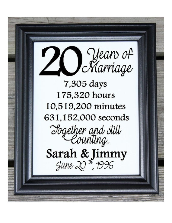 Cotton Print 20th Wedding Gift 20 Years Together 20 Years ...