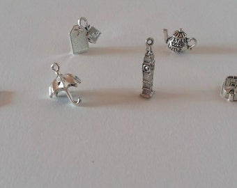 London charms / london themed / london set / UK charms / england charms / crown / umbrella / teabag / Big Ben / teapot / london bus / queen