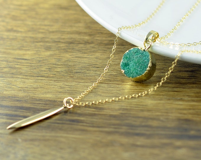 Gold Spike Necklace - Gold Necklace - Green Druzy Necklace - Long Pendant Necklace - Layered Necklace Set, Layered Necklace, Druzy Jewelry