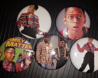 5 Pin Button set Family Matters Urkel 1 inch Buttons
