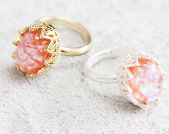 Resin Ring, Silver Gold Plated Crown Oval Seashell Pink caldesia