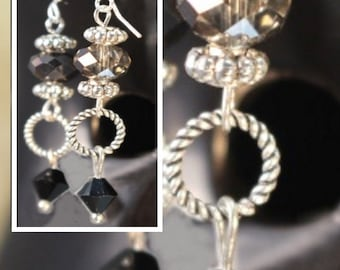 Beautiful Silver Earrings with Black and Crystal Beads  ... EA-SI-1267