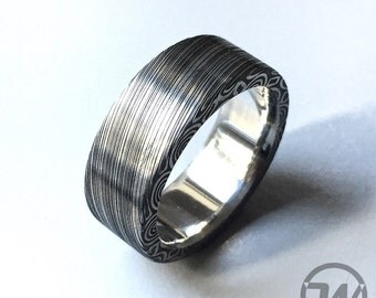 Ring made of damask steel, preferred, ring made from damascus steel, stainless steel, stainless