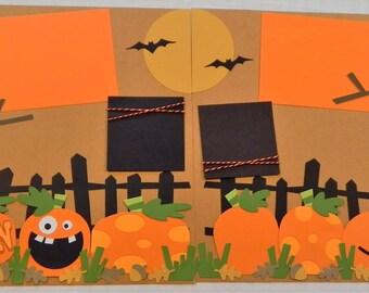 "Halloween 12x12 premade scrapbook page, ""My Pumpkin"" layout, premade scrapbook page"