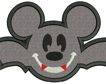 Mickey Mouse Vampire Bat Applique Embroidery Design