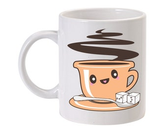 11 Oz. Ceramic Coffee Mug Cute Coffee or Tea with Sugar Cubes Kawaii