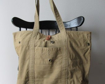 Recycled Tan Army Tote