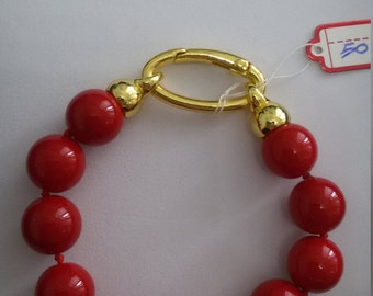 Majorcan pearls bracelet 21 cm red, with brass clasp for easy opening/closing
