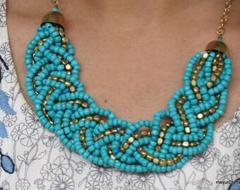 Turquoise Necklace, Statement Necklace, Bib Necklace, Choker Necklace, Collar Necklace, Braid Necklace, Bead Necklace, Bridesmaid necklace