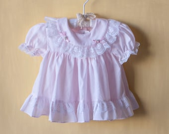 Vintage Pink Baby Girl Daygown Dress - 6-9 months