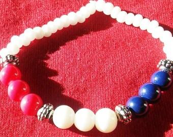 Red, White, and Blue Beaded Bracelet, Handmade