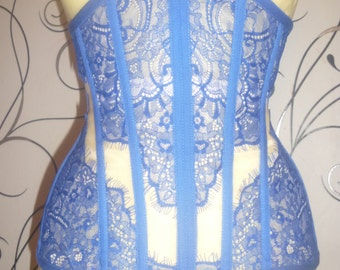 Transparent corset cornflower blue