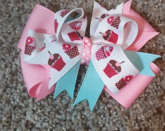 Pink and Blue Cupcake Bow