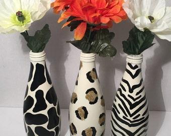 Set of 3 Hand Painted Animal Print Bottles, Zebra, Leopard, Cow, Decoration, Vase, Gift