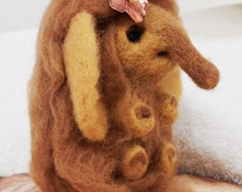 Needle felted mammoth, enjoyable toy, gift for her, handmade, elephant, soft sculpture, pretty animals, natural sheep wool