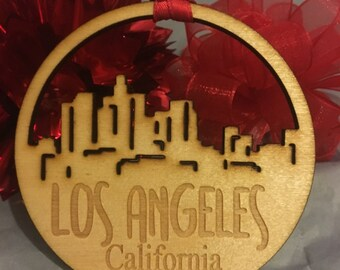 FREE SHIPPING *** Los Angeles California *** Skyline Christmas Holiday Ornament ***