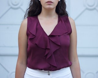 Ann Taylor Maroon Satin Ruffled Top