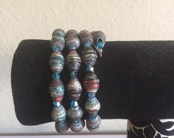 Handmade Cool Colored Paper Bead Memory Wire Bracelet