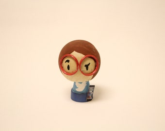 Custom Figurine - Handmade - 3 inch - Wooden - Includes Custom Miniature Item