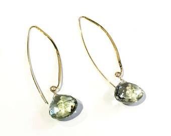 Prasiolite Gold Earrings