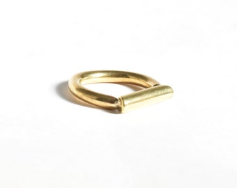 Hangover ring, brass handmade ring, modern statement piece, flat ring, gift for her, flat sided ring, geometric ring
