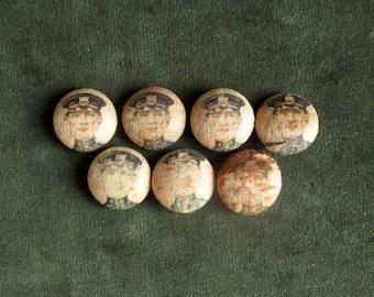 Seven, Antique, Silk, Policeman Buttons