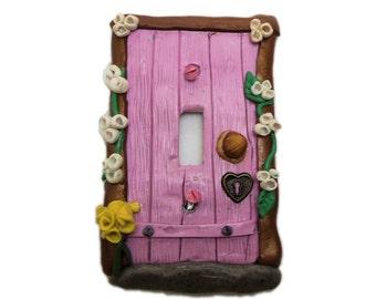 Pink Fairy Door Switch Plate Cover - Flower Light Switch Cover - Polymer Clay Switchplate Cover - Girls Room