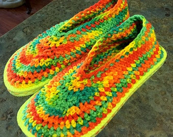 Handmade Crocheted Slippers with Joe Boxer Flip Flop Rubber Soles