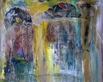Original Abstract Art Mixed Media Collage Painting - A Haunted Place