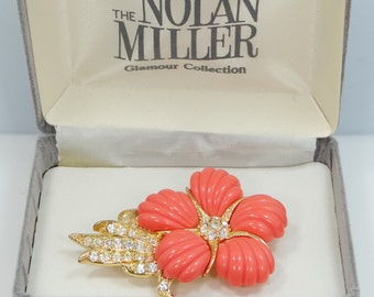 """Vintage Nolan Miller """"Coral Flower Pin"""" with Faux Coral Petals and Original Box"""