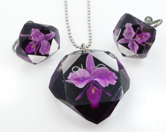 Vintage Lucite Orchids Necklace and Matching Earrings