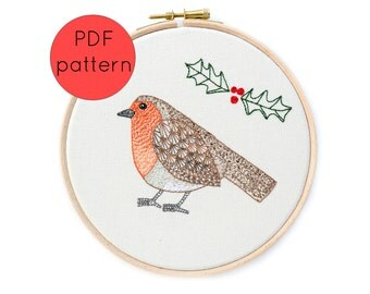 Christmas Embroidery Pattern Instant Download, Christmas Robin and Holly, Bird Hand Embroidery Hoop Art Pattern