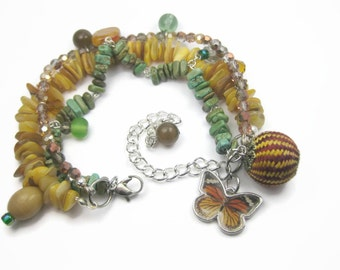 Boho Butterfly Charm Bracelet, Beaded, Orange Green and Yellow
