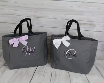 2  Bridesmaid Gift- Personalized Bridemaid Tote - Wedding Party Gift - Maid of Honor-Monogrammed Bridemaid Gift Tote Bags