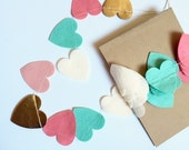 Heart Garland  // Coral & Mint //Valentine // Coversation Hearts // Love // Wedding // Baby Shower // Bridal Shower // Photo Prop //Mantle