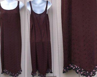 Vintage 90s Maroon Embroidered Rayon Midi Jumper Slipdress with Floral Ruffle Hem / hippie Lagenlook Boho // Sml - Med