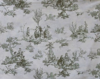 Michael Miller OOP Green Toile Cotton Fabric / C-485 Toile Scenic - French Country Scene // 1 yard