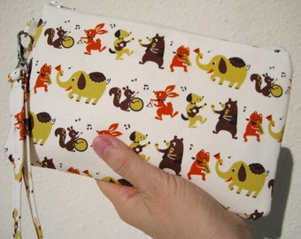 Zipper pouch 2 pockets,medium,yellow,animals, wristlet, cotton -  Musical Animals
