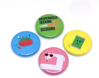Sewing Buttons, 1 inch pin back, Thread, Tomato pincushion, Set of 4