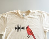 Northern Cardinal Call, bird nerd, handmade shirt, birdwatcher, nature lover gift (men's / unisex - extra large)