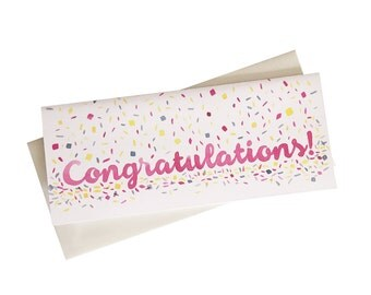 Congratulations Card - money card - card that fits check - wedding card - baby shower card - #10 long card