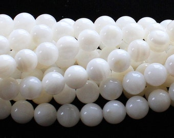 White Mother Of Pearl Round Gemstone Beads