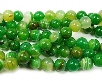 Grassy Green Striped Agate Round Gemstone Beads