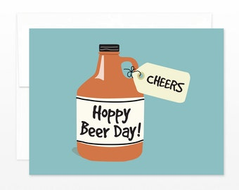 Funny Beer Lovers Birthday Card - Cheers! Hoppy Beer Day Growler Greeting Card - 21st Birthday, Beer Card, Craft Beer Card, Card for him