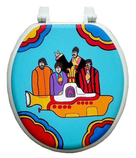 Yellow Submarine Hand Painted Toilet Seat Beatles Dad Grad Gift