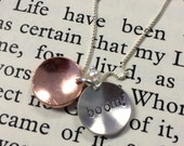 """Stamped Sterling Silver and Copper """"Copper Boom"""" Gilmore Girls Inspired Necklace"""