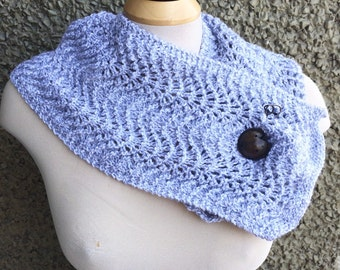 Grey and White Flecked Fan and Feather Scarflette