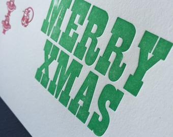 Letterpress Christmas card - Santa