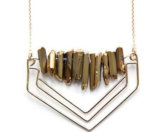 Lunar Ridge Gold Quartz Necklace