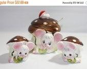HALF OFF Vintage mouse and mushroom salt and pepper and jelly jar, made in Japan vintage tableware, mice, mushrooms, Enesco Imports Japan